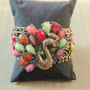 Jewelry - Colorful jeweled Peacock cuff